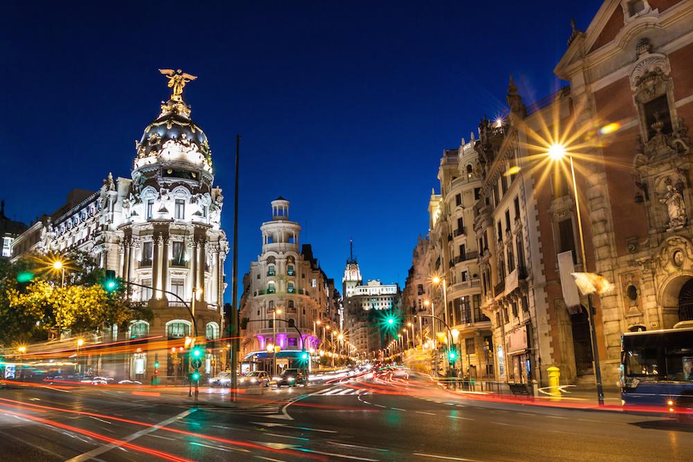 Gran Via Street Golf In Madrid